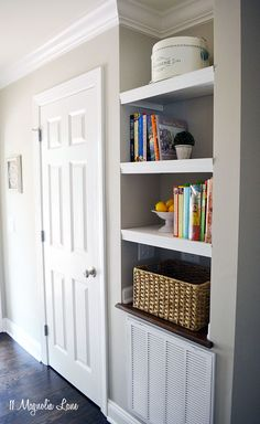 How to build built in bookshelves in a recessed niche {DIY tutorial}; this is in a kitchen pantry area | 11 Magnolia Lane