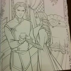 SOME ACOTAR COLOURING BOOK TEASERS!!!! THE SHOE THROWING SCENE AND OMG THAT ART FROM CHAPTER 55 I CAN'T - #acomaf #acowar #feyrhys