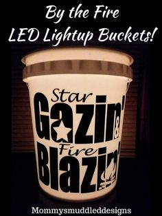 LED Light Bucket campfire light up bucket campsite camping life trailer rv gift decoration porch tent scouts star gazing fire blazing bucket