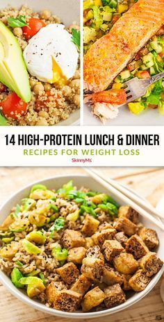 14 High-Protein Lunch and Dinner Recipes for Weight Loss These are guaranteed to keep you satisfied Clean Eating Dinner, Clean Eating Recipes, Healthy Dinner Recipes, Appetizer Recipes, Healthy Eating, Cooking Recipes, Healthy Lunches, Skinny Recipes, Healthy Habits