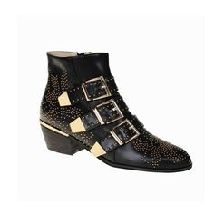 Black CARMEN Gold Studded Ankle Boots | In Shoes | JESSICABUURMAN