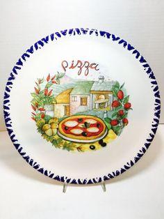 Intrada Italy Napoli 12  Pizza Plate Set of 2  Italian Village  #CMS & Set of 4 (Four) Italian Ceramic Pizza Plate 12