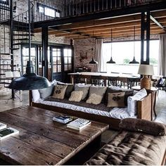 #interiordesign #custominteriors #mancave #loft #customhome #rustic #industrialdeaign #architechtural #stairporn #bricks #exposed #vintagedesign #industriallivingroom