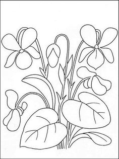 violet flower coloring pages Hand Embroidery Patterns, Cross Stitch Embroidery, Machine Embroidery, Jacobean Embroidery, Flower Coloring Pages, Colouring Pages, Mosaic Patterns, Flower Patterns, Fabric Painting
