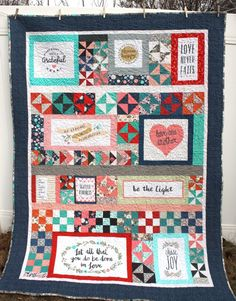Scrappy patchwork quilt featuring the Heart and Soul fabric collection by Deena Rutter including Choose Happy, Love One Another and Scatter Kindness blocks. Quilting For Beginners, Quilting Tutorials, Quilting Projects, Quilting Designs, Quilting Ideas, Valentine's Day Quotes, Machine Embroidery Applique, Machine Quilting, Date