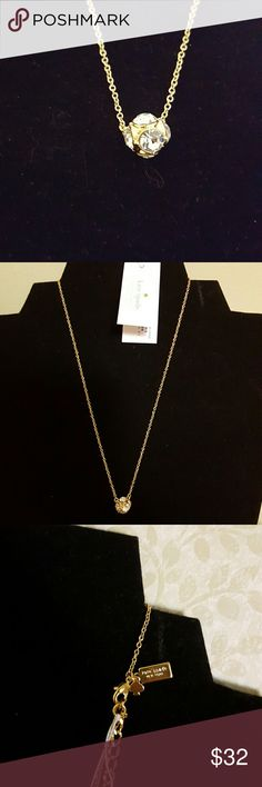 """Kaye Spade Necklace NWT Lady Marmalade  Clear/Gold Tone 6 Clear Stones 15"""" Gold Tone Chain With 3"""" Extention  Dust Bag Included Jewelry Necklaces"""