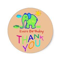 Rainbow Elephant Kid's Name & Age Birthday Thanks Classic Round Sticker