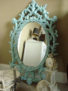 Vintage 1960's Large Ornate Mirror Hand Painted Tiffany Blue.