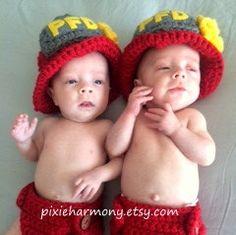 TWIN Newborn PHOTO Props  FIREMAN  Baby Boy Girl by pixieharmony, $84.95