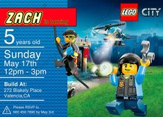 Lego City Birthday Invitation Personalized With DoorYou can find Lego invitations and more on our website.Lego City Birthday Invitation Personalized With Door Diy Birthday Themes, Police Birthday Cakes, Lego City Birthday, Lego Birthday Invitations, Birthday Posts, 6th Birthday Parties, 7th Birthday, Lego Police, Lego Fire