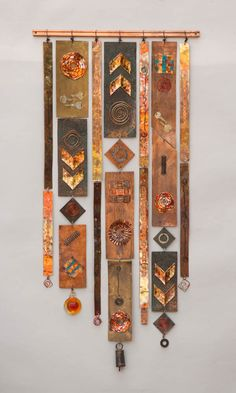 steampunk 5 25 x 54 by Frances Solar Metal Art, Wood Art, Copper Art, Painted Sticks, Wall Sculptures, Fabric Art, Textile Art, Altered Art, Diy Art