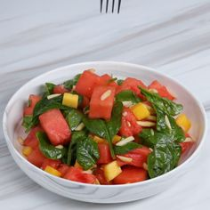 Watermelon Salad With Spinach And Mango Recipe by Tasty