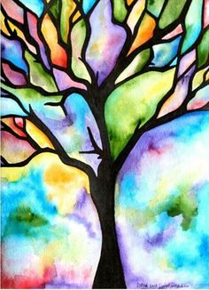 A tree painted with watercolor.