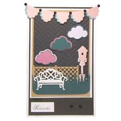 This project was made using the Die'sire Classique Trellis Fence, Garden Bench, Garden Birdhouse & Head in the Clouds Dies from Crafter's Companion. Available at www.cardcraftplus.co.uk