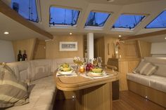 Oyster's bluewater sailboats open up the world to sailing enthusiasts, providing endless unique experiences. Discover more about Oyster's luxury sailboats today. Luxury Sailing Yachts, Sailboat Interior, Sailboats For Sale, Sailing Trips, Yacht Boat, Power Boats, Boating, Oysters, Dining Area