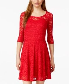 Material Girl Lace Illusion Skater Dress  -