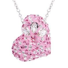 Viyari Heart of Nirvana Pink Swarovski Elements Rhodium Plated Pendant Necklace 14 + 1.5 Inch Silvertone Chain