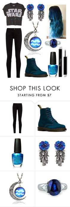 """Black and Blue"" by ash-the-emo ❤ liked on Polyvore featuring Gucci, Dr. Martens, OPI, Forest of Chintz and Fantasia by DeSerio"