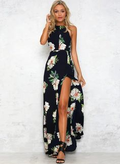 How to Show your Sexy Legs? yes Wear This Black Floral Backless Halter Split Maxi Boho Dress