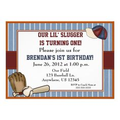 Baseball Kids Birthday Invitation