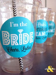Bachelorette Party Cups Bride's Drinking Team and by Celebr8tions
