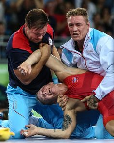 Norway's StigAndre Berge reacts as he wins the men's 59kg GrecoRoman wrestling…