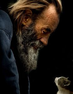 Old man and kitten - such a precious photograph