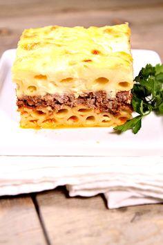 Classic Pastitsio Recipe (Greek Lasagna) from RecipeGirl.com #MyBigFatGreekWedding2