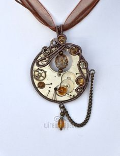 Steampunk pocketwatch pendant with yellow beads