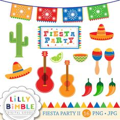 40% off Fiesta Party clipart for Cinco de Mayo, cactus, maracas, picado, sombrero, Commercial Use Primary Colors by LillyBimble on Etsy https://www.etsy.com/listing/127826321/40-off-fiesta-party-clipart-for-cinco-de