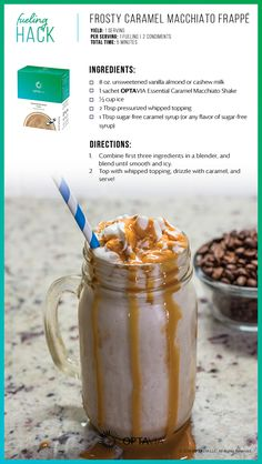 Frosty Caramel Macchiato Frapee Medifast Recipes, Smoothie Recipes, Low Carb Recipes, Snack Recipes, Diet Recipes, Cooking Recipes, Healthy Living Recipes, Healthy Cooking, Healthy Snacks