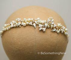 Pearl Wedding Tiara with Vintage Enameled Leaves by BeSomethingNew