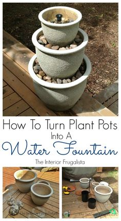 How To Turn Plant Pots Into A Water Fountain - Ever wish you had a water feature in your yard? Here is how you can turn a trio of plant pots into a water fountain for a small deck, patio, or balcony. Diy Water Fountain, Diy Garden Fountains, Small Fountains, Fountain Ideas, Fountain Garden, Outdoor Fountains, Homemade Water Fountains, Garden Ponds, Koi Ponds