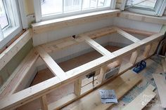 Detailed tutorial, includes dry wall front for window seat.
