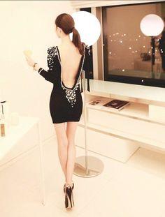 Women Sexy Fancy Embellished Plastic Pearls Beaded Backless V Back Short Dress   eBay $20