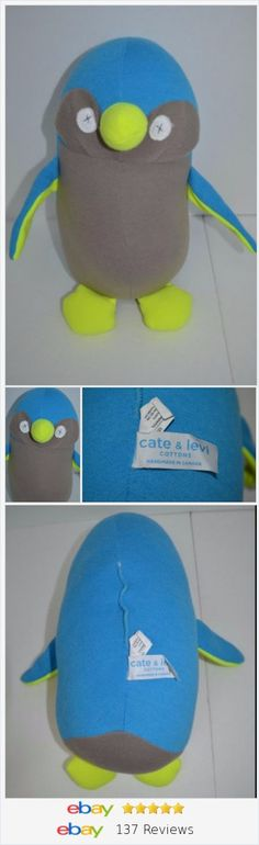 """Cate & Levi Stuffed Plush Penguin One Of A Kind Blue Neon Yellow Grey 13"""" http://stores.ebay.com/shopabbygirl?_rdc=1"""