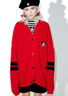 Lazy Oaf X Disney Mickey Mouse College Cardigan ...looks like ya just stepped outta the clubhouse. Get cozy in this amazing long sleeve cardigan, featurin' a plush chunky knit construction, loose oversized fit, classic Mickey back embroidered patch, dual slouchy front pockets and front button closure.