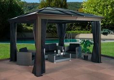PRESTON Mocha - Sunshelter 10' x 12' steeel & aluminum, polycarbonate roof with mosquito net 2 rails *REFURBISHED*