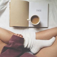 Socks bed morning book coffee