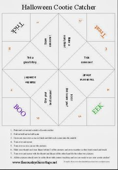 Halloween Cootie Catcher - a free printable! Plus more Halloween crafts! - * THE COUNTRY CHIC COTTAGE (DIY, Home Decor, Crafts, Farmhouse)