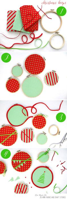 3 DIY No-Sew Christmas Embroidery Hoop Ornaments - Simple no-sew Christmas embroidery hoop ornament project can help you deck your halls or your tree in just 30 minutes or less. Sewn Christmas Ornaments, Merry Christmas, Fabric Ornaments, Christmas Fabric, Christmas Crafts, Christmas Decorations, Simple Christmas, Christmas Sewing, Rustic Christmas