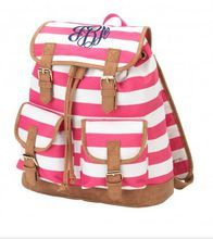 Add a name or a monogram to personalize this backpack. Trendy Pink Stripe Monogrammed Backpack - Monogram Included