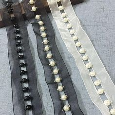 Best 12 Width inches Beaded lace trim, Milk white/Black beaded lace trim,beaded lace for DIY dress Diy Lace Trim, Beaded Trim, Beaded Lace, Beaded Embroidery, Sleeves Designs For Dresses, Sleeve Designs, Diy Fashion, Ideias Fashion, Robe Diy