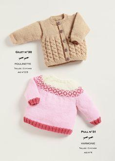 Modèle de tricot - Pull et Gilet enfant - Catalogue Cheval Blanc n°21 - Laines utilisées : POULINETTE et HARMONIE