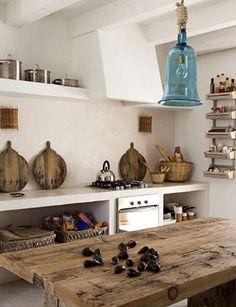home in Formentera - Rustic Kitchen Decor, Rustic Kitchen, Kitchen Design, Rustic House, House Design, Sweet Home, Interior, Home Decor, House Interior