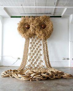 Love! Wow! The owl. 15 x 35 feet, Macrame owl by Andy Harman.