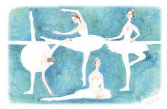 Ballet dancers before the performance. illustration by kenichi komada, comapict.