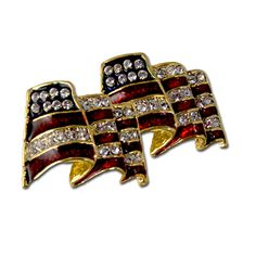 Elegant Stars and Stripes Earrings - American Flag shaped earrings. Gold-plate with enamel and Swarovski crystals. (Pierced or Clip).  Price: $17.50  http://www.starsandstripesproducts.com/elegant-stars-and-stripes-earrings/  #American flag earrings #patriotic earrings #flag earrings