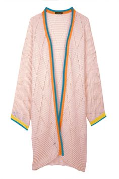 090254da92a4 Cardigan knit in a drop diamond stitch in light pink with orange cyan and  yellow