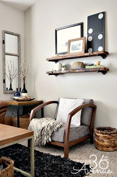 DIY - Home Decor : These DIY Industrial Shelving is super easy to make and a great addition to any room!  the36thavenue.com